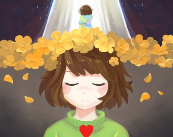 Fallen Back | undertale, undertale art, chara, asriel, frisk, video game print, anime print, gamer gift, small art print, small anime print