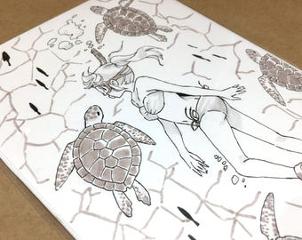 Sea Turtle: Original Ink Drawing | original art, ink drawing, anime drawing, manga art, original anime art, inktober, original drawing