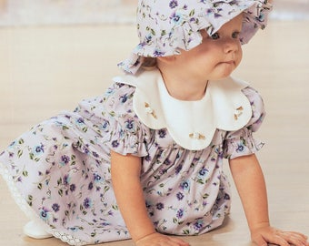 Sewing Pattern for Infants' Puff Sleeve Dresses, Panties, Jumpsuit and Hat, Butterick Pattern 4110, Baby Summer Wardrobe, Sun Bonnet