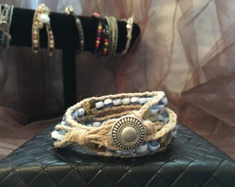 Gemstone and Hemp Beaded Bracelet