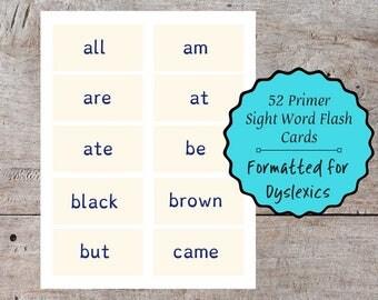 52 Printable Pre-Primer Sight Word Dyslexia Flash Cards, Dyslexic Flash Card, Printable Flash Card, Dyslexia Sight Word Flash Card, Dyslexic