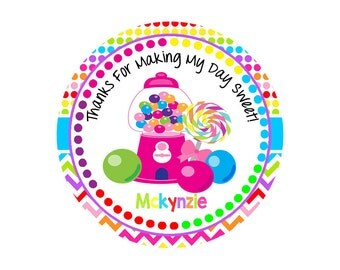 Candyland Stickers, Candy Stickers, Candy Thank You Stickers, Birthday Stickers, Candy Favor Stickers, Bubblegum Stickers