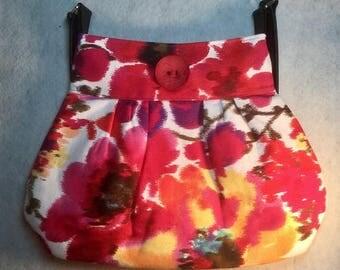 Trendy Red Floral Handbag | Shoulder Bag | Summer Floral Handbag | Gifts for Her | Pleated Purse | Pleated Floral Handbag | Birthday Gift