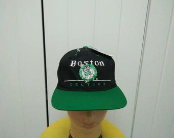 Rare Vintage BOSTON CELTICS Big Logo Spell Out Cap Hat Free size fit all