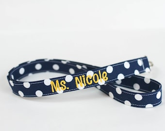 Personalized lanyard, Teacher lanyard, Nurse lanyard, Badge ID holder lanyard, Navy blue fabric and white dot