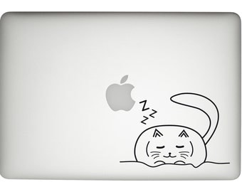 cat decal, cat macbook pro decal, cat laptop sticker, macbook pro sticker, cat lover gift, cat sleeping Decal, fun macbook pro sticker, cat