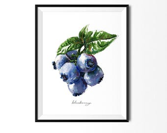 Blueberry Print, Food Art, Food Illustration, Fruit Print, Blueberries Painting, Art for Kitchen, Kitchen Decor, Fruit Painting, Art Print