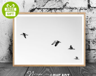 Seagull Print, Minimalist Art Print, Seagull Art, Wall Art, Black and White Print, Minimalist Printable Art, Black and White, Wall Art Print