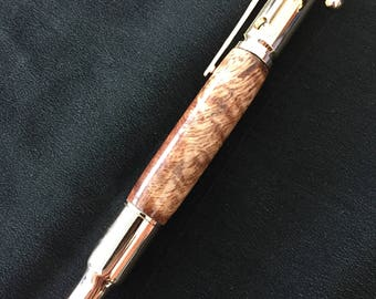 30 caliber bolt action pen in Hawaiian curly koa wood