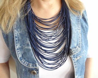 EXPRESS SHIPPING,Multi Strand Necklace,Statement Jewelry,Dark Blue Leather Look Rope,Cord Necklace,String Necklace,Bip Jewelry,Mother's Day