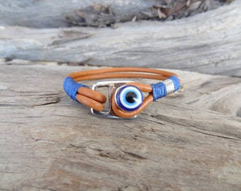 EXPRESS SHIPPING, Men's Leather Bracelet,Evil Eye Bracelet,Ginger Leather Bracelet,Protection Bracelet, Mens Jewelry, Father's Day Gifts