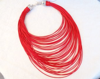 EXPRESS SHIPPING,Multi Strand Necklace,Statement Jewelry,Red Leather Look Rope,Cord Necklace,String Necklace,Bip Jewelry,Mother's Day