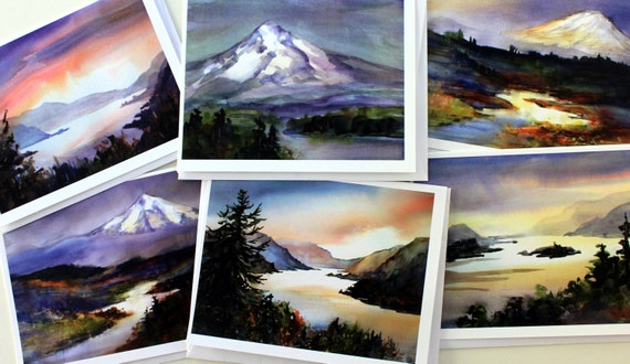 Columbia Gorge Pink - blank note cards - greeting cards - thank you cards - teachers - thinking of you cards - Bonnie White