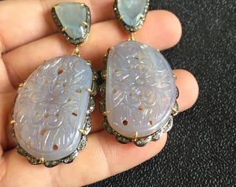 Party Wear Earrings,Chalcedony Earrings,Victorian Earrings,Dangle Earrings,Victorian Earrings,Dangle Earrings,Carved Earrings,Aquamarine