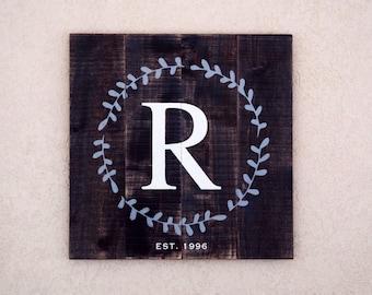 Monogram Wedding Gift Wood Sign, Rustic CUSTOM pallet sign, Initial & Established Est Date Sign, Last Name Letter Sign, Anniversary Gift
