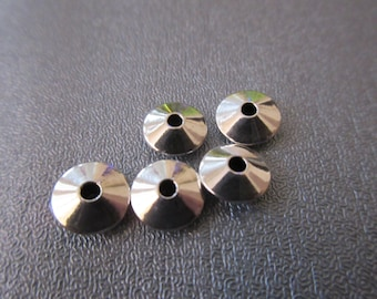 Sterling Silver Smooth Seamless Saucer Bead Spacer 8mm 5pcs
