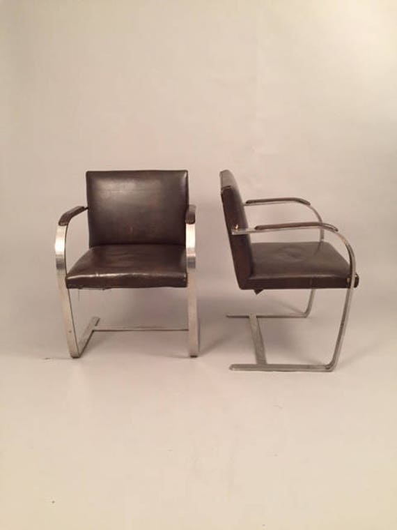 Mies van der Rohe for Knoll Brno Flat-Bar Chairs in Brown Leather - Pair