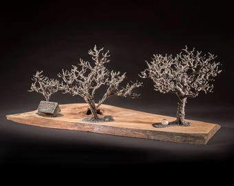"metal tree sculpture, sculpture, metal bonsai, bonsai, sculptured tree,""Compte du corbeau / Crow count"""