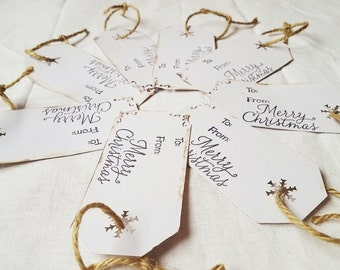 Gift tag set Christmas gift handmade gift tag holiday gift wrap merry Christmas holiday package rustic distressed gift tag country Christmas