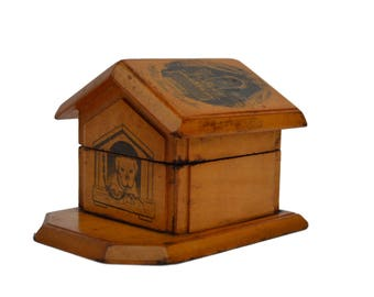 Rare Antique Inkwell - Our Lady Of Prime-Combe - Doghouse  - Desk Organizer - 19th Century