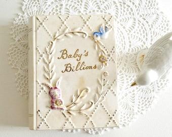 Vintage Baby's Billions piggy bank ceramic piggy bank nursery decor blue bird and bunny book piggy bank