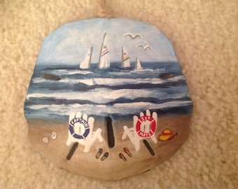 Captain and First Mate Sand Dollar Ornament,  Christmas Ornament, Beach Ornament, Coastal Ornament