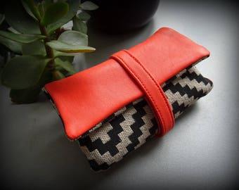 Blague a tabac cuir naturel et textile / Tabatière / étui / pochette / trousse / pour cigarettes roulées idée cadeau homme femme / Orange