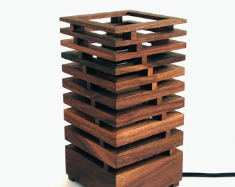 BauLampe American black walnut table lamp, modern accents, lighting. Made to Order