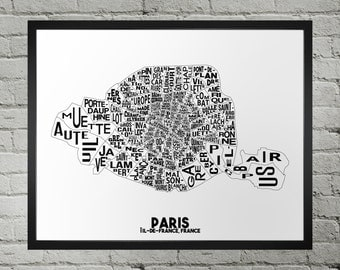 Paris France Districts Typography City Map Print