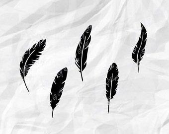 Feather Svg, Feather Silhouette SVG File, Feathers DXF, Feather Cut File, Cricut design, Wall art DIY, Silhouette, Digital File