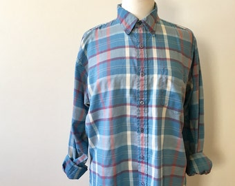 casual baby-blue lightweight plaid button-up