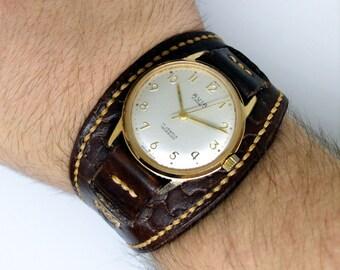 Stylish watch with watchband, leather watchband, vintage watch, biker watch