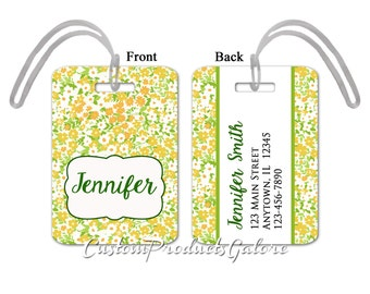 Luggage Tag - Yellow and Green Floral, Personalized Luggage Tag, Suitcase Bag Tag, Fun Luggage Tag