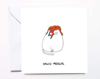David Bowie Greeting Card - David Meowie / Aladdin Sane / Cat Pun / Cat Card