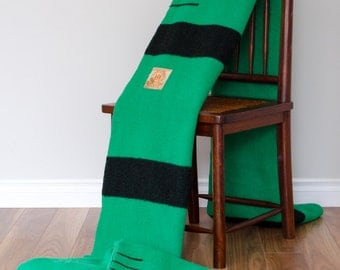 Unseparated Pair of 1940s Hudson's Bay Company Green 3.5 Point Wool Blankets // Made in England
