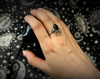 onyx and sterling spider ring