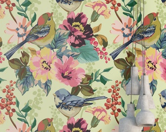 Birds in Tree Wallpaper - Removable Wallpaper - Flowers and Birds Wallpaper - Sparrow Print - Tropical Peel and Stick Wallpaper
