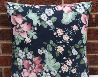 """16"""" Vintage Navy Floral Cushion Cover Shabby Chic, Country Cottage, Vintage ••100% COTTON••"""