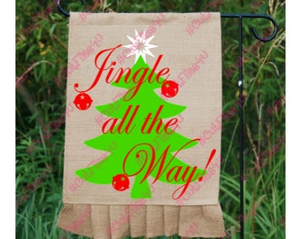 Jingle all the Way! SVG, PNG cut file designs for Silhouette, Cricut using vinyl, HTV for Christmas Holiday December with Tree, Bells, Star