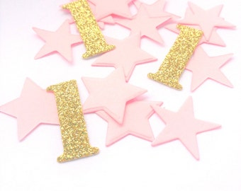 Number 1 & Star Pink and Gold Glitter Table Confetti, girls first birthday