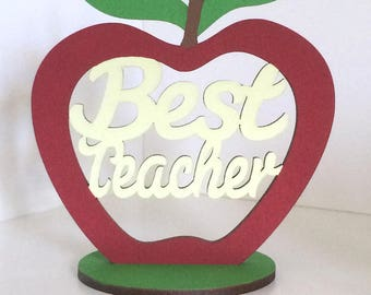 Best Teacher Apple Gift ~ Handmade Teachers Appreciation Plaque ~ Freestanding Red Apple School Sign Decor
