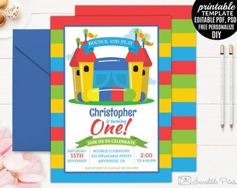 Inflatable Birthday Invitation Template, Boy Birthday Invite. Bounce and Play Pump it up Jump First DIY PDF PSD Digital Download Editable