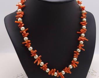 Vintage Stick Coral Faux Pearl Necklace Pretty design