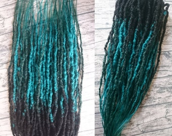 Synthetic double ended dreads, ready made DEdreads, green dreads, grey dreads, crochet dreads, natural looking dreads, ready to ship dreads