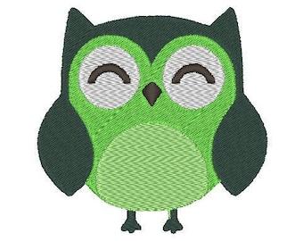 "2 sizes cute owl - machine embroidery design 4x4"" & 2.5x2.5"""
