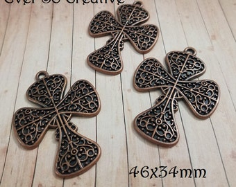 ESC-CR107: Copper Clover Crosses- 5pcs
