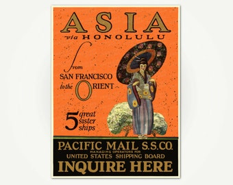 Asia Travel Poster Print - Asia via Honolulu from San Francisco to the Orient - Honolulu Travel Poster - Geisha Poster Art