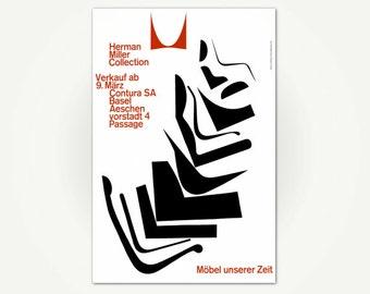 Herman Miller Collection Vintage Mid Century Modern Advertising Poster Print