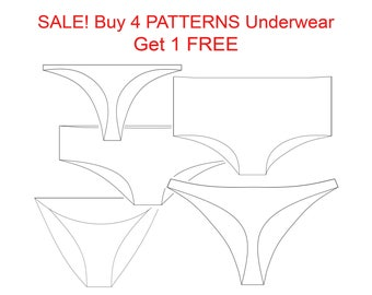 SALE lingerie patterns! Buy 4 Pattern underwear, Get 1 FREE!  Pattern Pants, Pattern Thong, Pattern Bikini, PDF Pattern high waist Lingerie