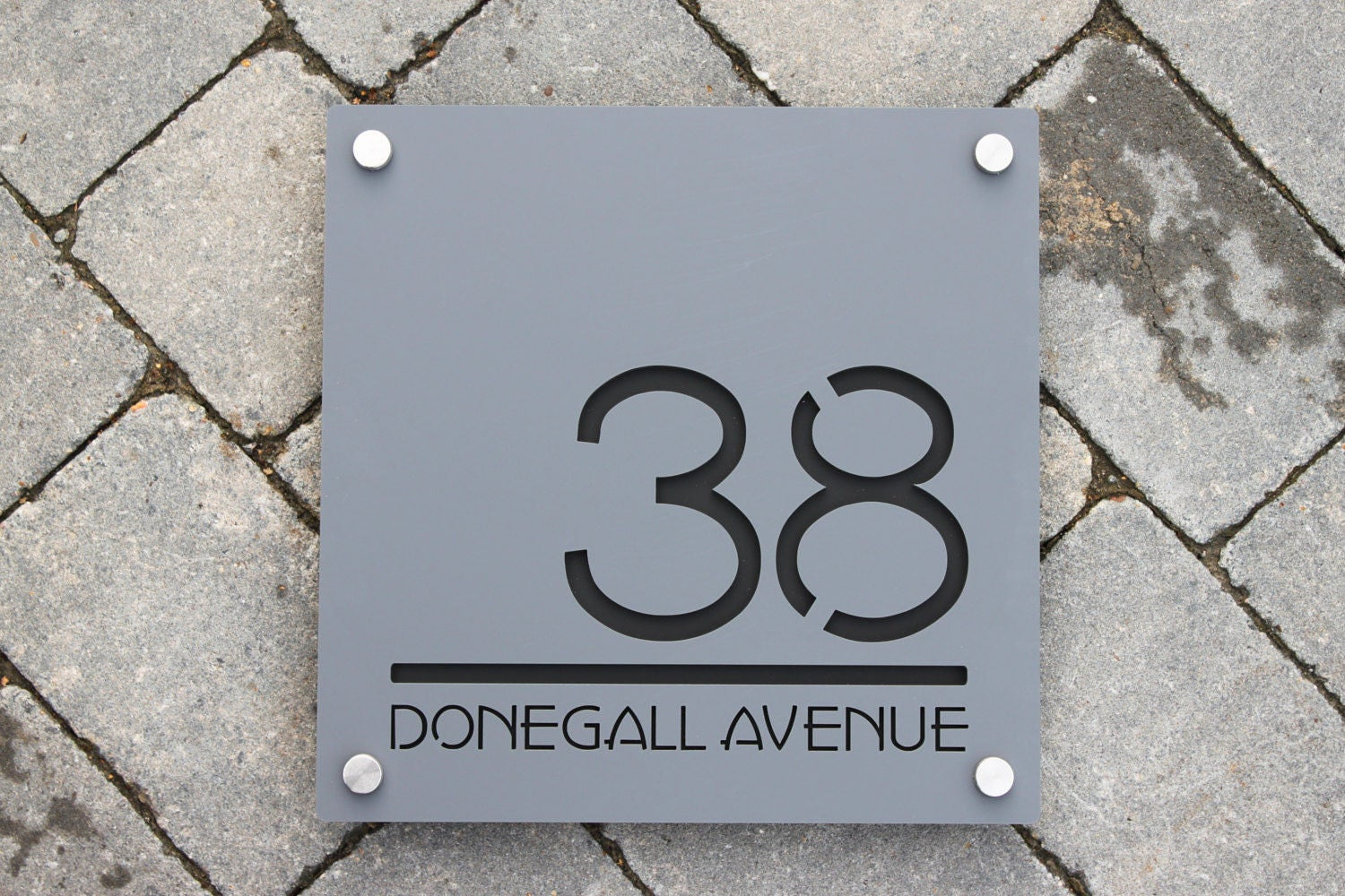 Contemporary house number door sign square plaque extra for Contemporary house names